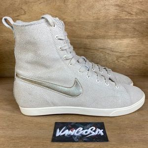 Nike Raquette Suede High-Top Lace-Up Gold Sneakers